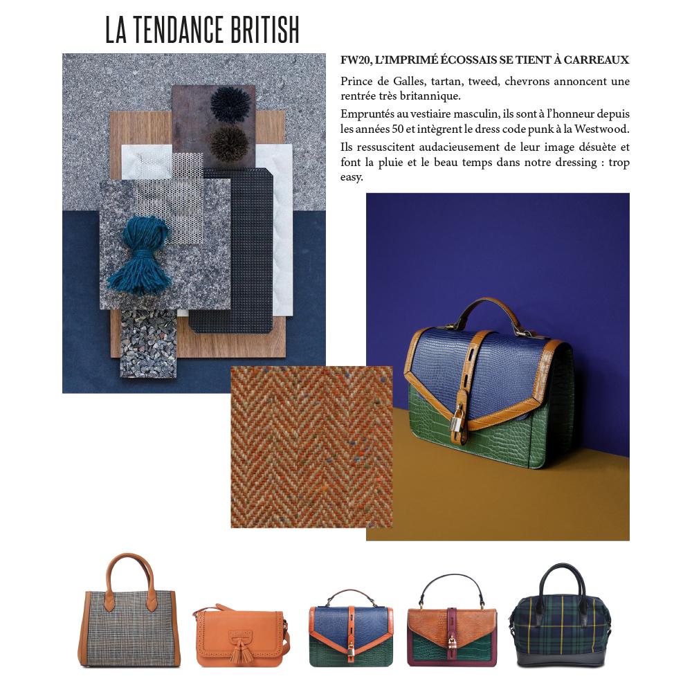 tendance maroquinerie autonome hiver 2020 : sacs british